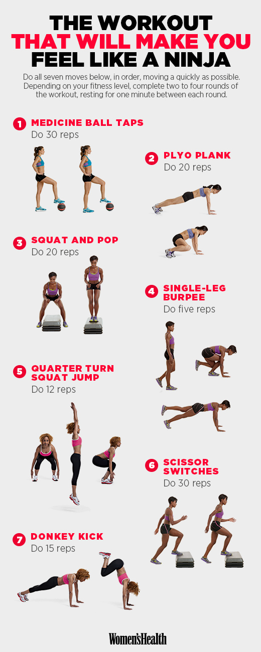 Agility, Plyo Exercises, Exercises to Increase Agility, Women's Health, Devani Alderson, medicine ball tips, plyo planks, squats. burpees,