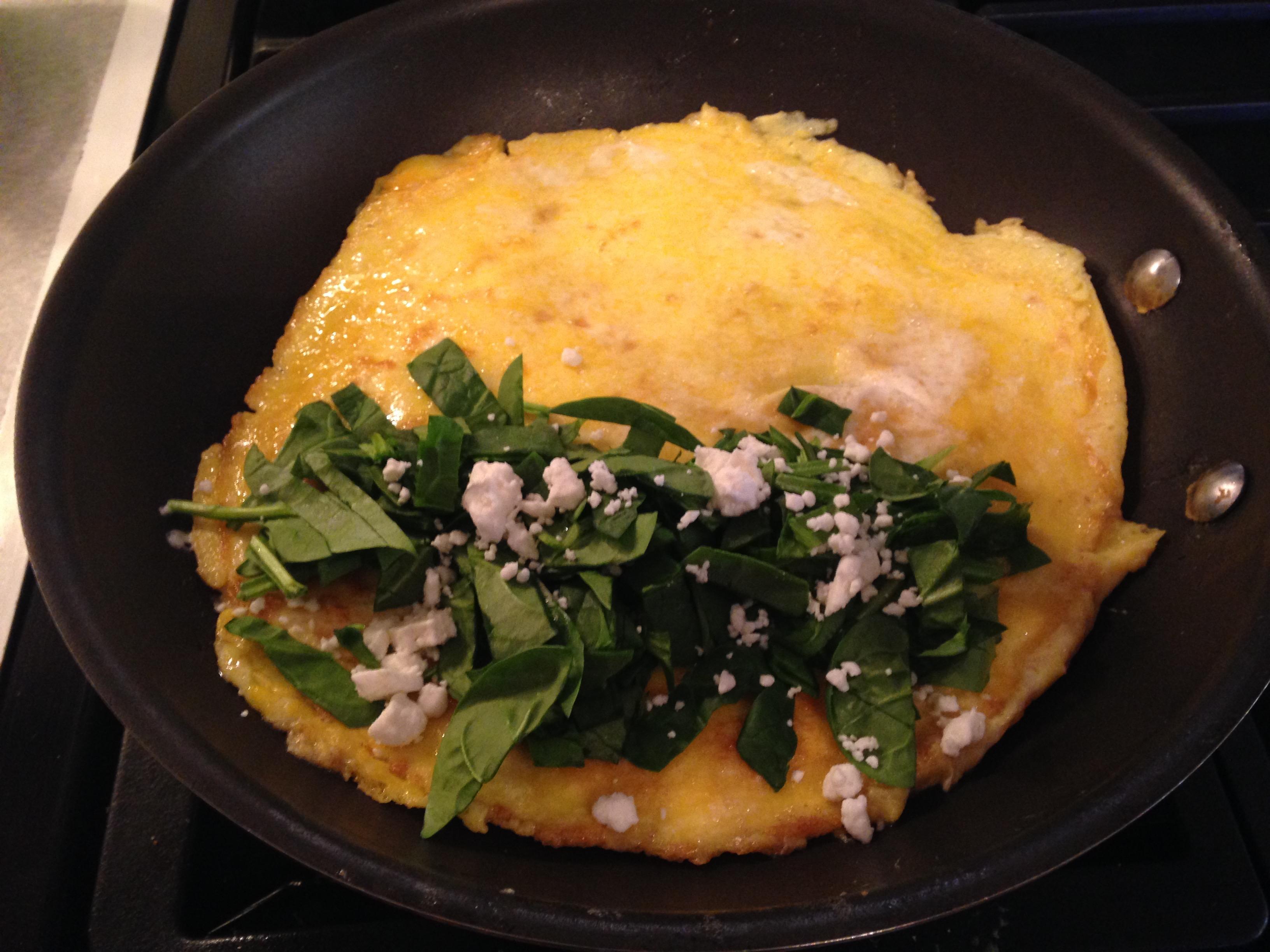 Healthy Spinach feta omelet, healthy breakfast
