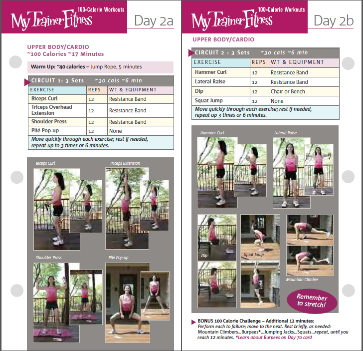 My Trainer Fitness 100 Calorie Workout cards, front and back of Day 2 of 6